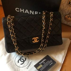Authentic Chanel DOUBLE FLAP LAMBSKIN